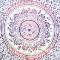 Narzuta bawełniana - prawdziwa mandala - róże i wrzosy