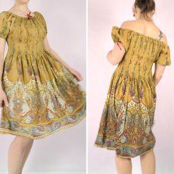 Sukienka indyjska - midi - ciemny beżowy rayon w kolorowe paisley