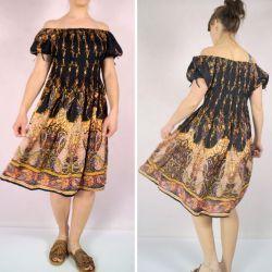 Sukienka indyjska - midi - czarny rayon w kolorowe paisley