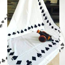 Sari bawełniane - kupon materiału - pareo - biała talia kart