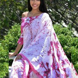 Sari bawełniane - kupon materiału - pareo - biało różowe kwiaty