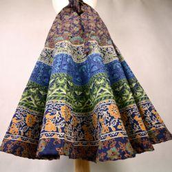 Spódnica indyjska z koła z karczkiem - zielona