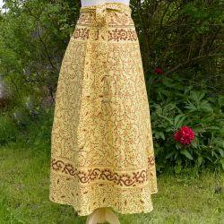 Spódnica indyjska  kopertowa - długa - łąka z brązami