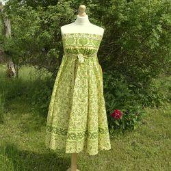 Spódnica indyjska  kopertowa - długa - łąka z zielenią