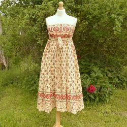 Spódnica indyjska  kopertowa - długa - łąka z czerwienią