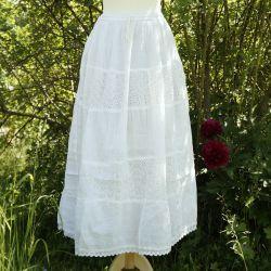 Spódnica z koronką i troczkiem - biała ecru