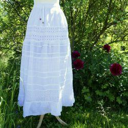 Spódnica z koronką i troczkiem - biała z różnymi koronkami