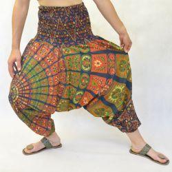 Spodnie - bawełniane szarawary - zielona mandala w puzzle