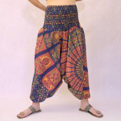 Spodnie - bawełniane szarawary - granatowa mandala w puzzle