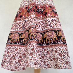 Spódnica indyjska  kopertowa - midi - bordowa karawana