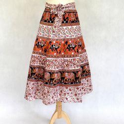 Spódnica indyjska  kopertowa - midi - pomarańczowa karawana