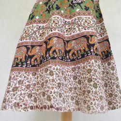 Spódnica indyjska  kopertowa - midi - zielona karawana