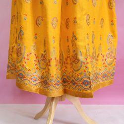 Spódnica indyjska długa - na gumce - żółty ze złotem