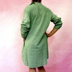 Tunika indyjska bawełniana - długa - zielona sukienka mini