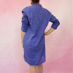 Tunika indyjska bawełniana - długa - chabrowa sukienka mini z powlekanymi guzikami