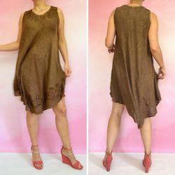Sukienka indyjska za kolano z haftem - ciemno brązowy rayon