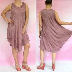 Sukienka indyjska za kolano z haftem - bordowy rayon