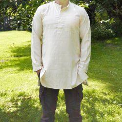 Koszula męska - surówka jedwabna - z długim rękawem i stójką - kremowa