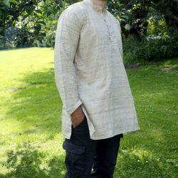Koszula męska - surówka jedwabna - z długim rękawem i stójką - drobny melanż