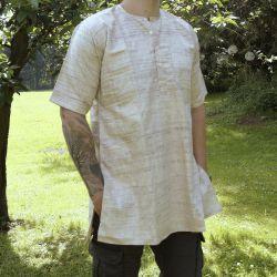 Koszula męska - surówka jedwabna - z krótkim rękawem - drobny melanż