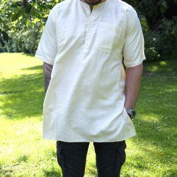 Koszula męska - surówka jedwabna - z krótkim rękawem - kremowa