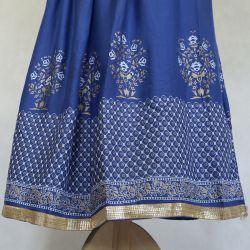 Spódnica indyjska długa - na gumce - chabrowy ze złotem