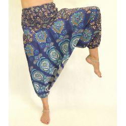 Spodnie - bawełniane szarawary - ganatowa mandala z morskim i szeroką gumą