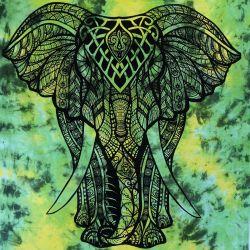 Makata - zasłona - obrus - batikowy słoń - zielony i żółty