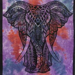 Makata - zasłona - obrus - batikowy słoń - fiolet i czerwień