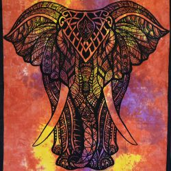 Makata - zasłona - obrus - batikowy słoń - czerwony i żółty