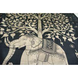 Narzuta bawełniana - słoń w ogrodzie - grafit ze złotem
