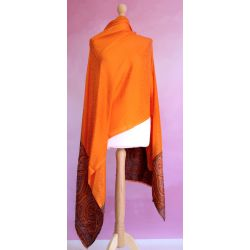 Szal indyjski - delikatny rayon - świetlisty pomarańcz