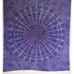 Narzuta bawełniana - batikowa mandala - ciepły fiolet
