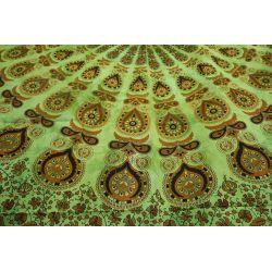 Narzuta bawełniana - batikowa mandala - spokojna zieleń