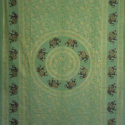 Obrus - makata - zasłona - słonie - zieleń ze złotem