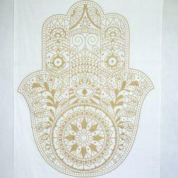 Obrus - makata - zasłona - hamsa - biały ze złotem