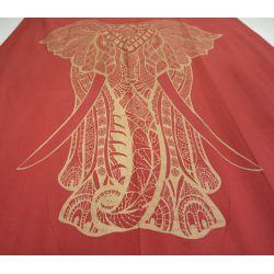 Obrus - makata - zasłona - majestatyczny słoń - czerwony ze złotem