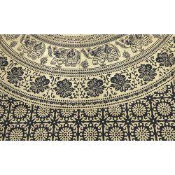Obrus - makata - zasłona - mandala z terakotą - czarny ze złotem