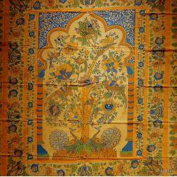 Narzuta bawełniana - pawie - słonecznik