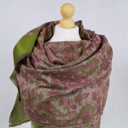 Szal indyjski - wełna 100% - paisley i kwiaty - zielony z wrzosem