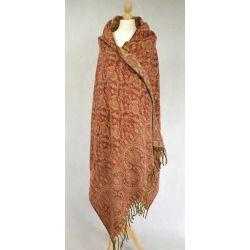 Szal nepalski - paisley - rudawy burgund z beżowym