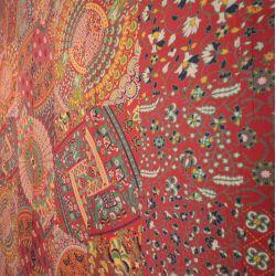Narzuta bawełniana - kolorowy jarmark - czerwony