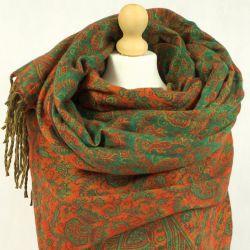 Szal nepalski - paisley - żywa zieleń z ciemną dynią