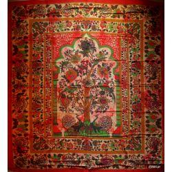 Narzuta bawełniana - pawie - cegła