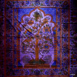 Narzuta bawełniana - pawie - fiolet
