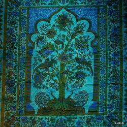 Narzuta bawełniana - pawie - turkus