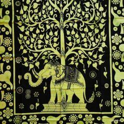 Obrus - słoń w ogrodzie - seledyn