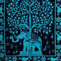 Obrus - słoń w ogrodzie - turkus