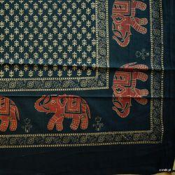 Narzuta bawełniana - złote słonie II - grafit