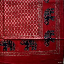 Narzuta bawełniana - złote słonie II - czerwień